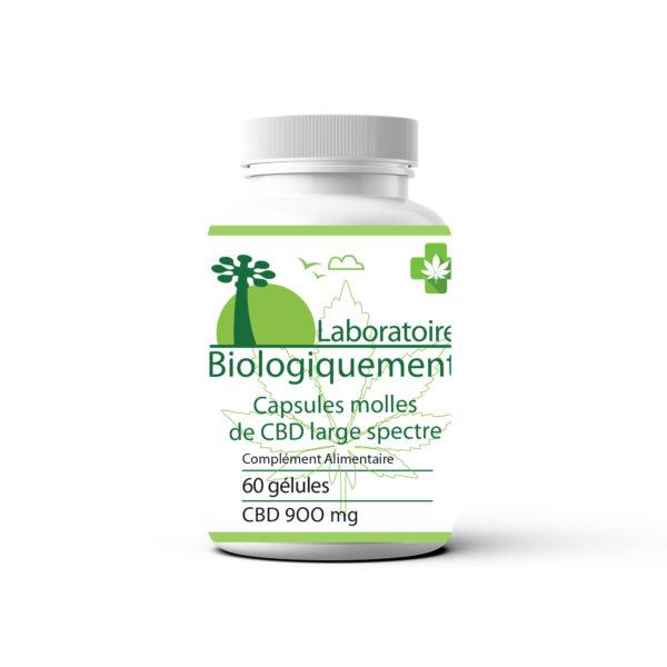 Capsules molles CBD 900 mg à large spectre 30 ml laboratoire Biologiquement Baomix