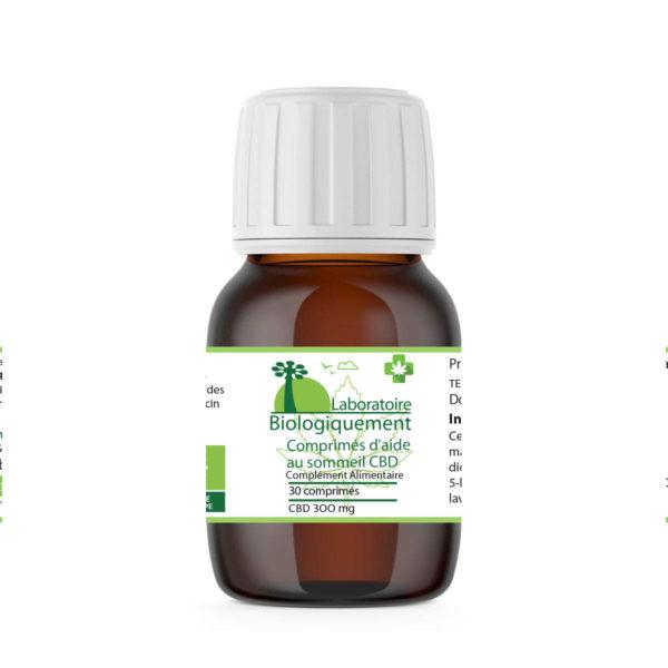 Comprimés aide au sommeil CBD bio 300 mg lavande 5-HTP laboratoire Biologiquement Baomix