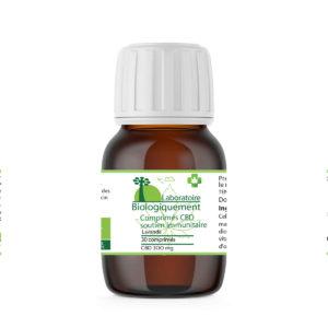 Comprimés de cannabidiol CBD bio 300 mg soutien immunitaire vitamine C et zing laboratoire Biologiquement Baomix